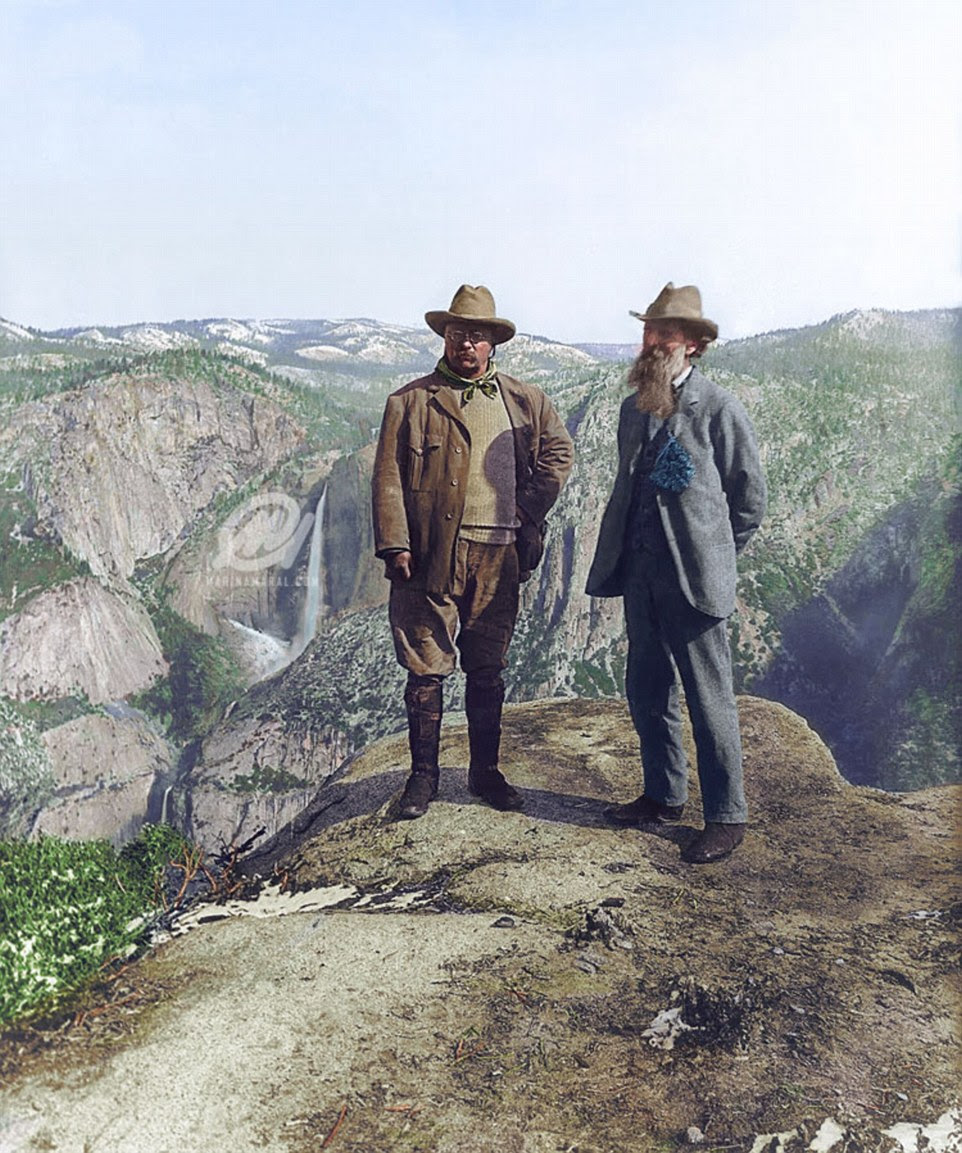 Mountaineering: President Theodore Roosevelt and naturalist John Muir are pictured on Glacier Point in Yosemite National Park 1906