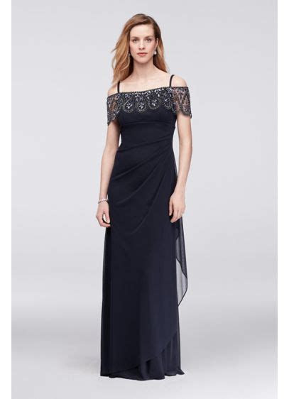Off The Shoulder Mesh Dress with Beaded Flounce   David's