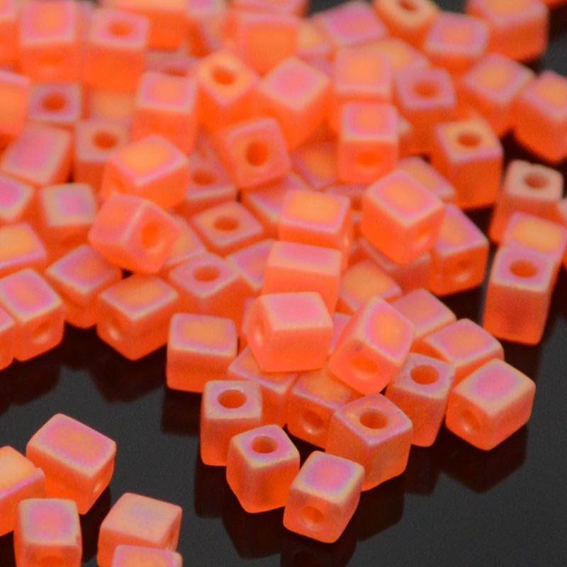 sb3-0138fr Miyuki - 3 mm Japanese Cubes - Matte Screaming Orange Rainbow