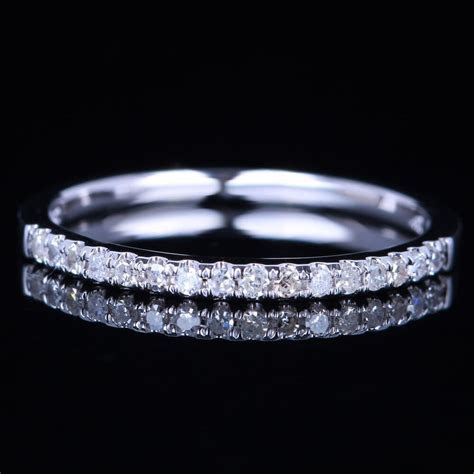1.4mm Wide Pave Solid 18K White Gold VS Diamond Half