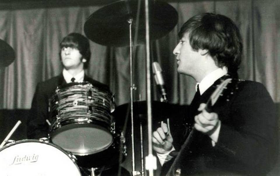 Ringo Starr, left, and John Lennon and the rest of The Beatles played at Municipal Stadium in Kansas City on Sept. 17, 1964.