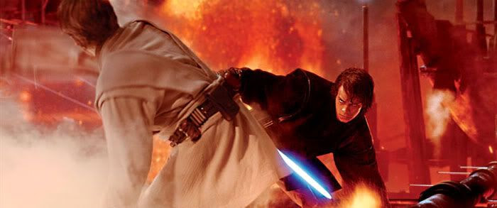 Anakin duels with Obi-Wan on Mustafar.
