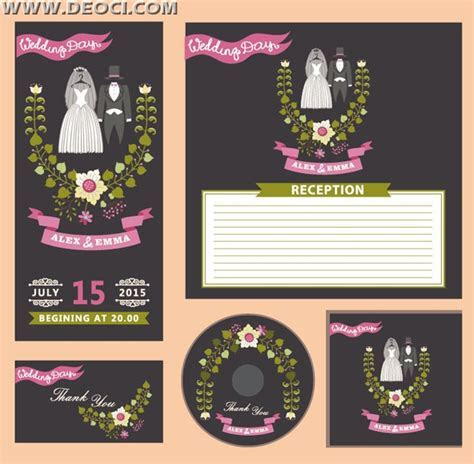 Wedding invitation card and CD cover design EPS downloads