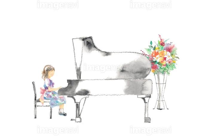 ピアノ発表会女の子と花赤の画像素材32350808 イラスト素材