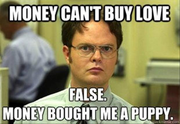 Money Cant Buy Love False Money Bought Me A Puppy Picture Quotes
