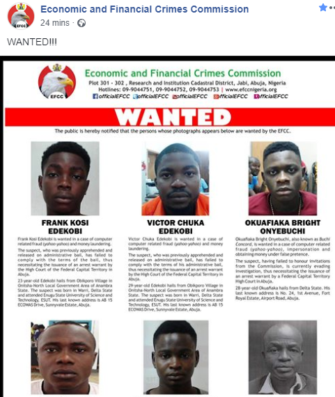 EFCC declares six men wanted for various financial crimes, jumping bail