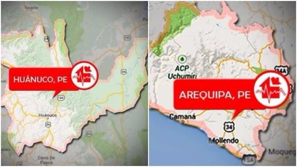 Los sismos sorprendieron a huanuqueños y arequipeños por la madrugada.