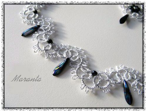 srebrny komplet frywolitkowy biżuteria