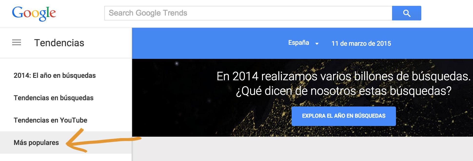 Tendencias de búsqueda en Google trends
