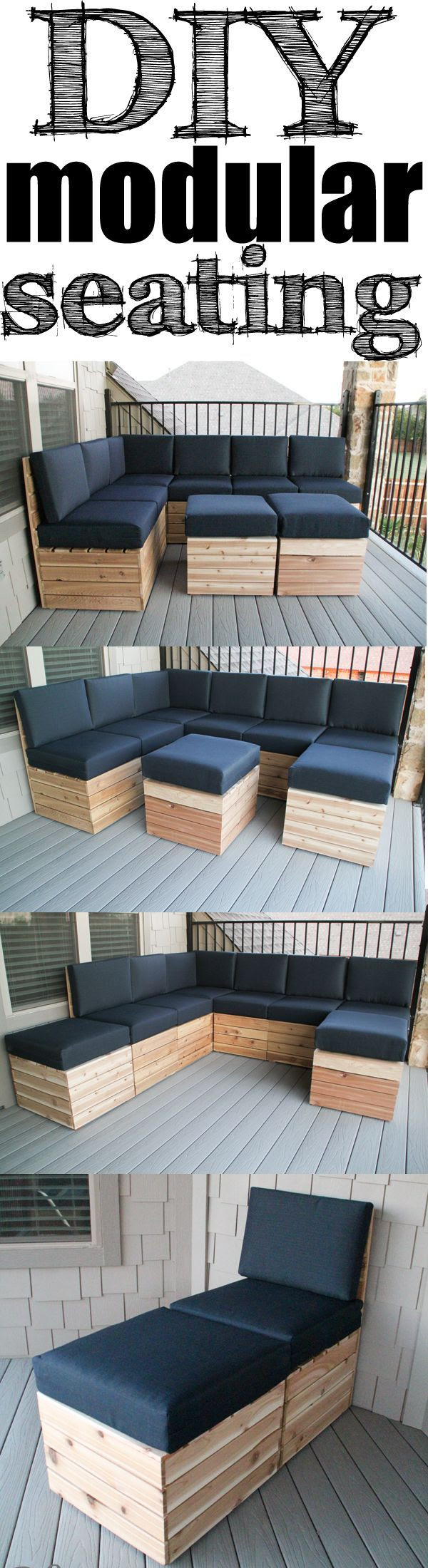 DIY Modular Seating! Easy build and you can build it/arrange it to fit your space! Free Plans!