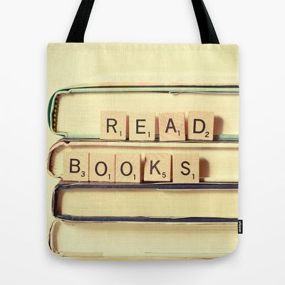 Read+Books+Tote+Bag+by+Olivia+Joy+StClaire+-+$22.00, book bag, book worm, white, gift for librarian or teacher, literary, gift under $30, pretty, unique one of a kind, photography, book lover