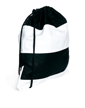 Image 2 of ASOS Drawstring Backpack in Stripe