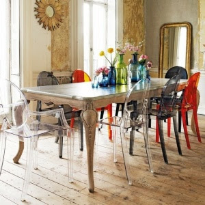 Boho-Chic-Dining-Room-Designs-With-white-wall-wooden-ornament-window-door-mirror-dining-table-colorful-chair-flower-decor-hardwood-floor