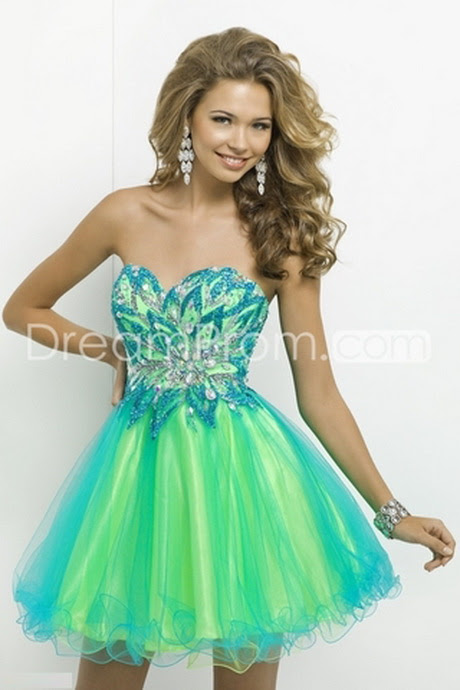 Blue and Green Short Prom Dress | Fashion Wallpaper
