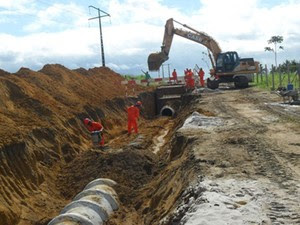 Parque Industrial de Caaporã está em fase de drenagem, para posteriormente ser feita a terraplanagem e pavimentação (Foto: Divulgação/Cinep)