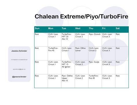 chalean extreme piyo turbofire chalean extreme schedule