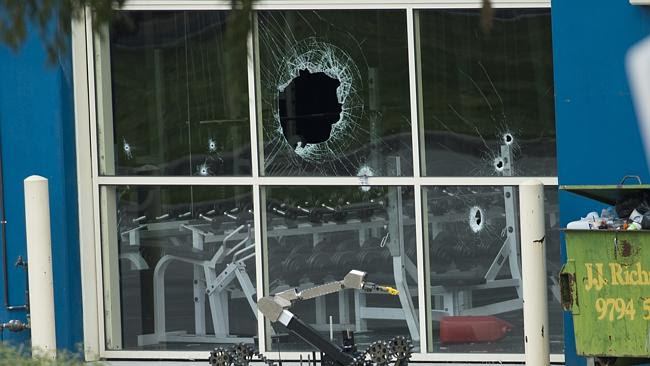 Shots were fired into a Hallam gym run by Comanchero state president Mick Murray earlier this week.