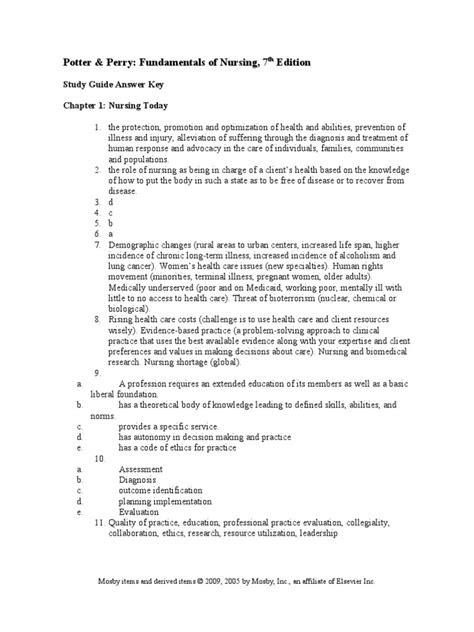 Nursing Study Guide Answer Key | Clinical Trial | Nursing