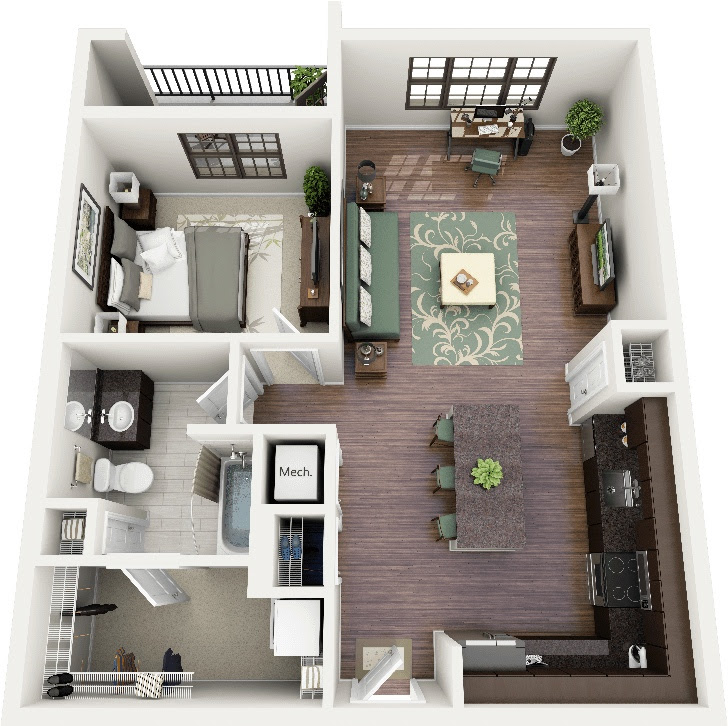 """50 One """"1"""" Bedroom Apartment/House Plans   Architecture ..."""