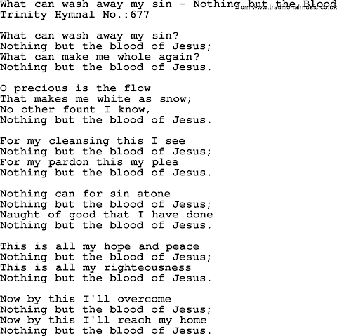 What Can Wash Away My Sin Lyrics Hymn