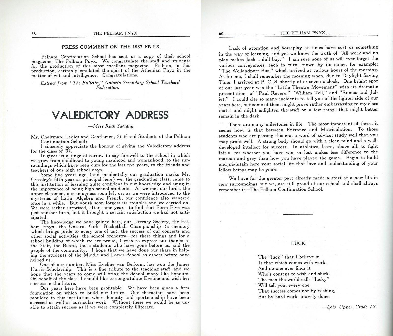 Full Image View Pelham Pnyx 1938 Valedictory Address Press