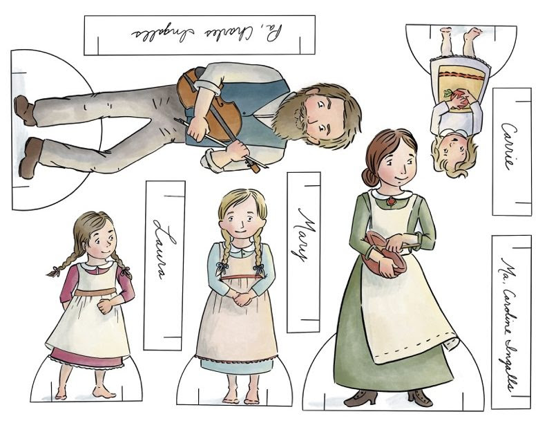 """""""Little House on the Prairie"""" Paper Dolls Collection. Ready to print in full color, or color your own at home. Printable paper dolls and crafts for homeschool or hours of fun anytime."""