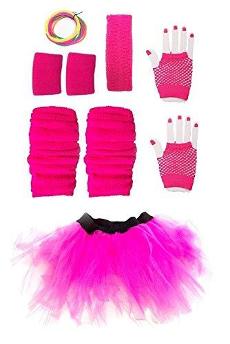Neon Pink Tutu, Gloves, Sweatbands, Headband, Leg Warmers, Bangles
