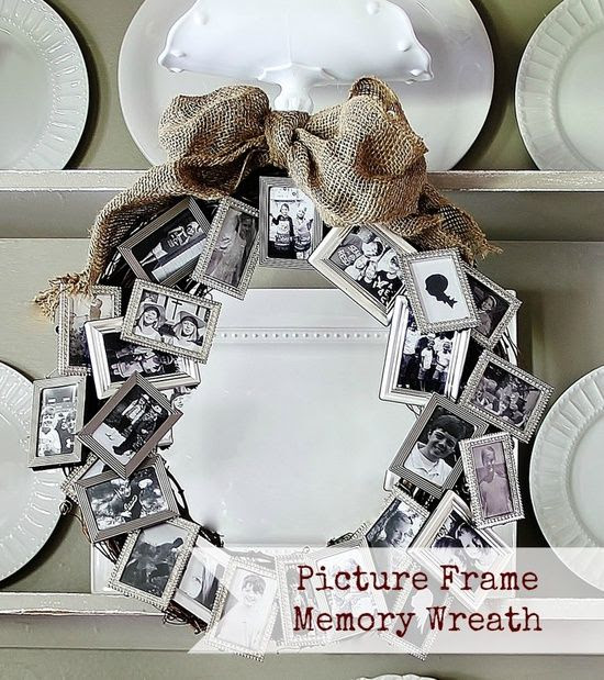 DIY picture frame wreath. Ahhhh I loove this!!!