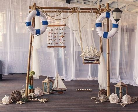 nautical decor for the wedding reception   decorated arch