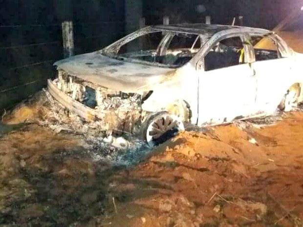 Corpo de empresário foi localizado dentro de carro incendiado, segundo a polícia (Foto: Divulgação/Polícia Civil de Mato Grosso)