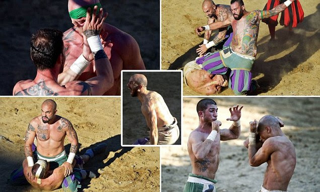 Calcio Storico 'historic football' match sees players punch and kick their way to victory