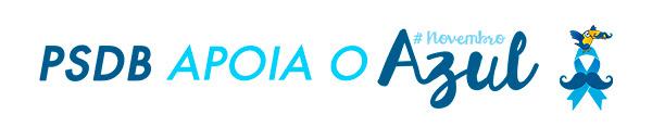 Logo abaixo, vemos o título: PSDB (em azul escuro) apoia o (azul claro) #NovembroAzul (marca com letra como se fosse escrita à mão). Ao lado, vemos o laço azul símbolo da campanha com um bigode no centro. Acima do símbolo, vemos o tucano do PSDB com um bigode no bico.