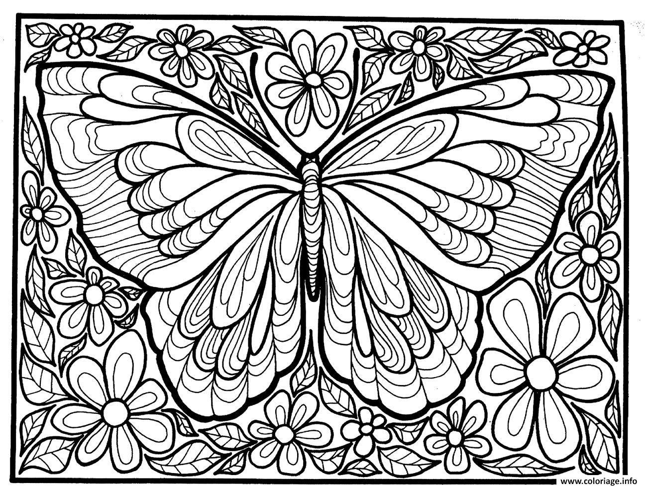 Coloriage Adulte Difficile Grand Papillon Jecoloriecom