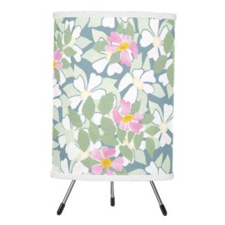 Pretty Pink Dogroses on Deep Blue Table Lamp