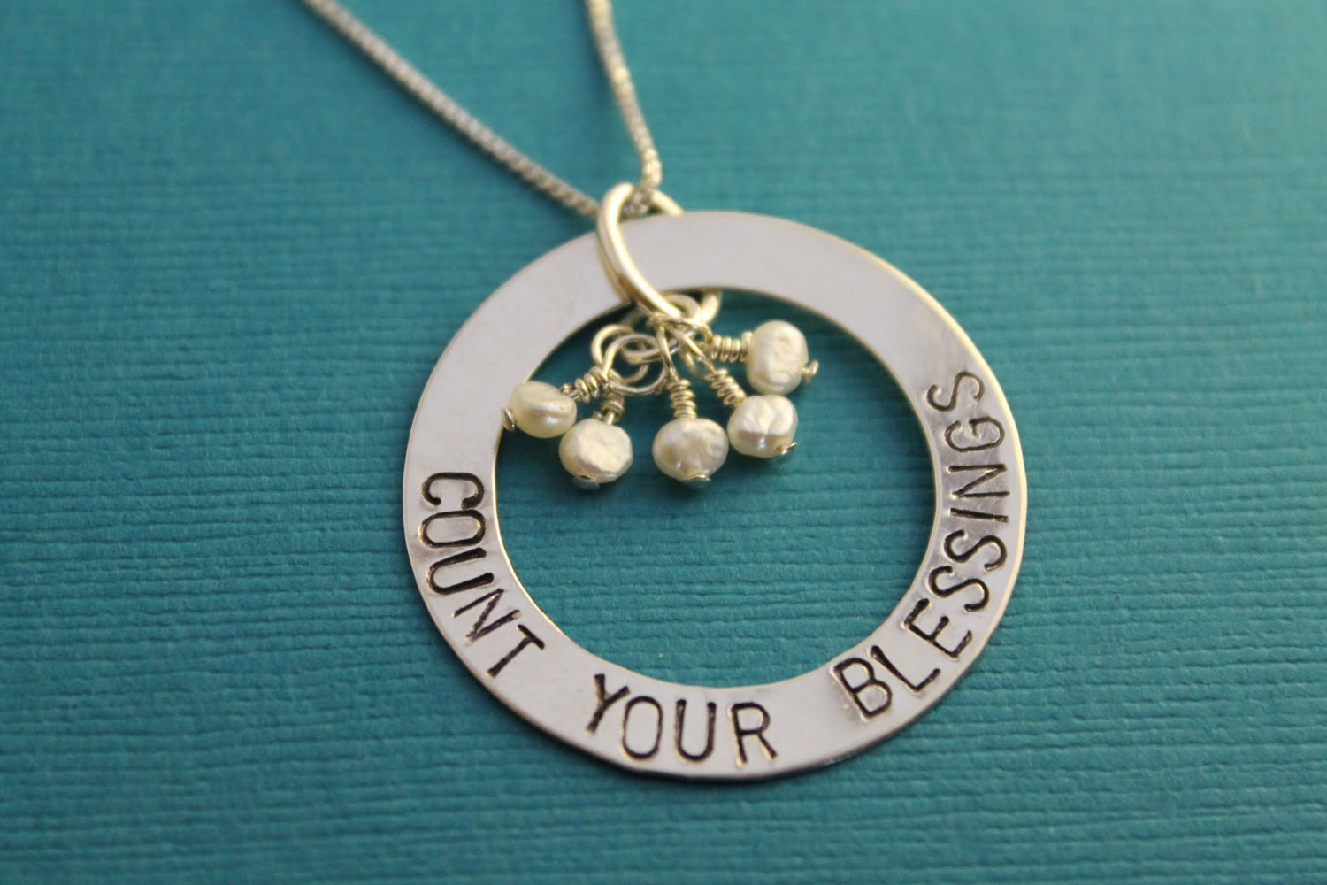 """Hand Stamped """"Count Your Blessings"""" Mother's/Grandmother's Necklace with Freshwater Pearls"""