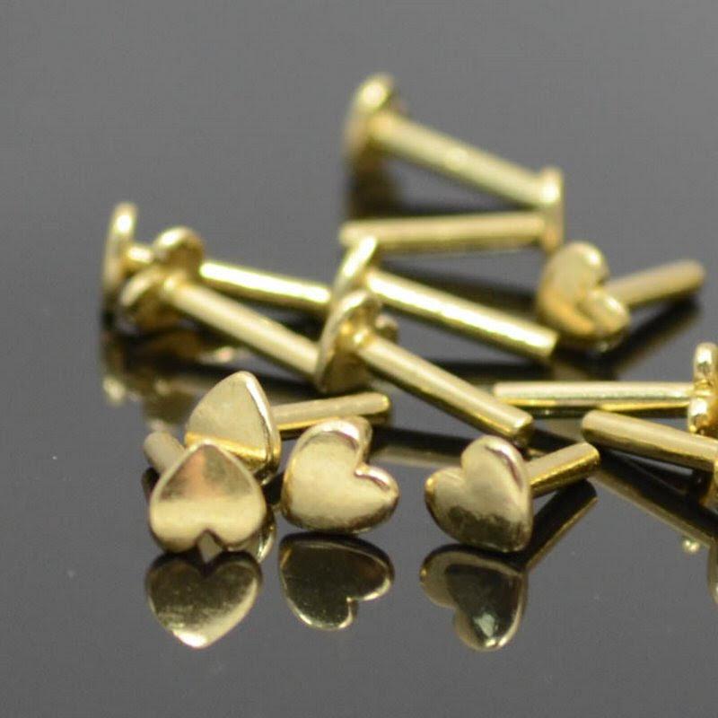 s38611 Decorative Rivet -  Heart - Brass (10)
