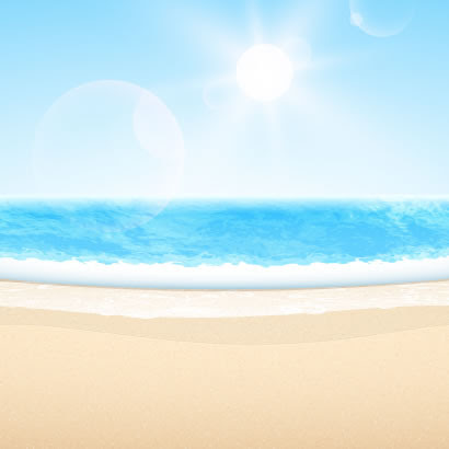 夏のビーチ海の水平線太陽のイラストaieps ベクタークラブ