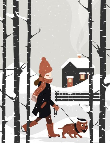 Kadın Köpek Karlı Manzara Simgeleri Yürüyüş Kış Boyama Vektör