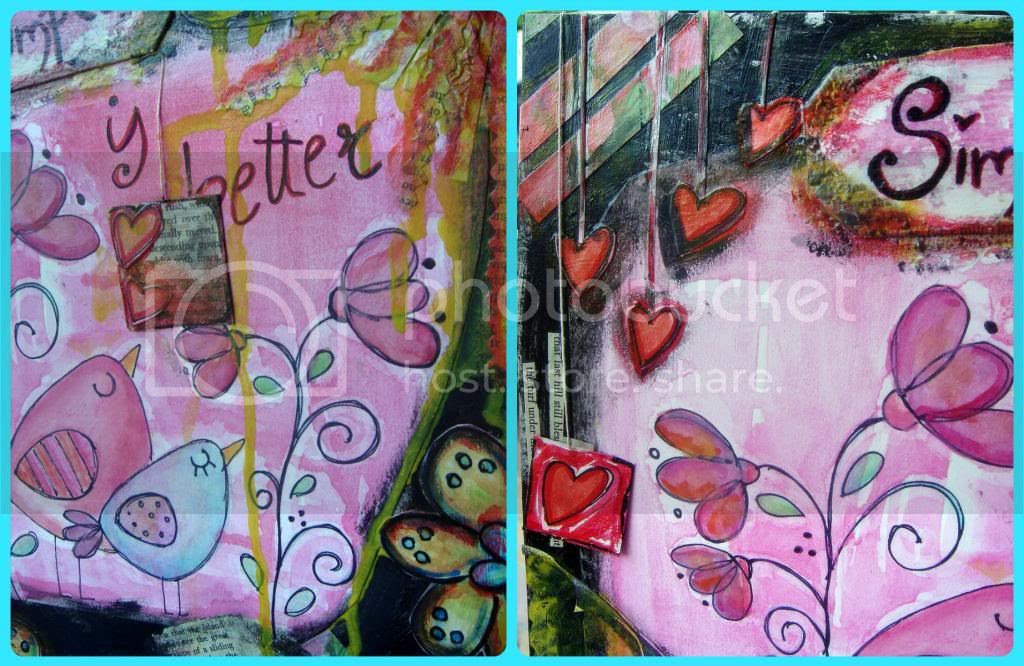 Mixed media, riciclo cartone, riciclo carta, art journal, altered cardboard, cuori, fiori, uccellinidisegno a mano libera
