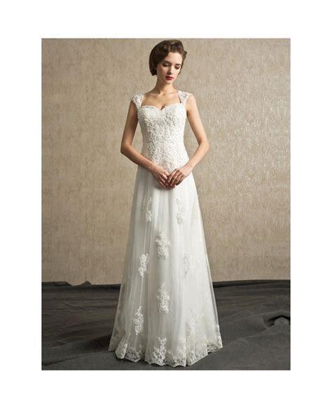 Best Elegant Lace A line Tulle Wedding Dress Floor Length