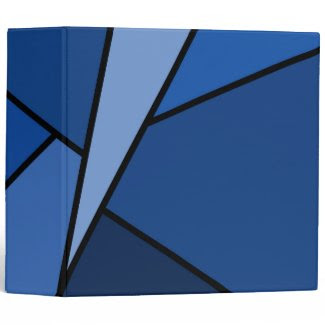 Abstract Blue Polygons 3 Ring Binders