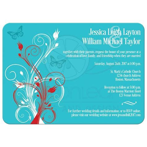 Wedding Invitation   Turquoise, Red, White Floral, Butterflies