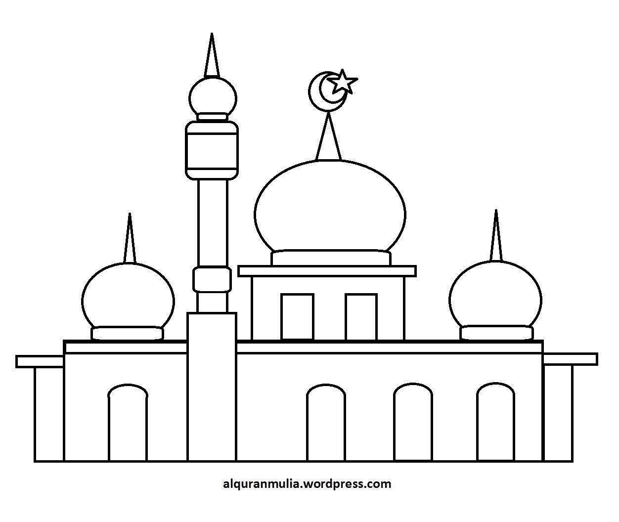 Mewarnai Gambar Masjid 33 Anak Muslim Alquranmulia Sketch Coloring Page