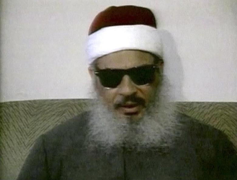 Egyptian Omar Abdel-Rahman speaks during a news conference in this still image taken from February 1993 video footage on January 18, 2013. REUTERS/Reuters TV/Files