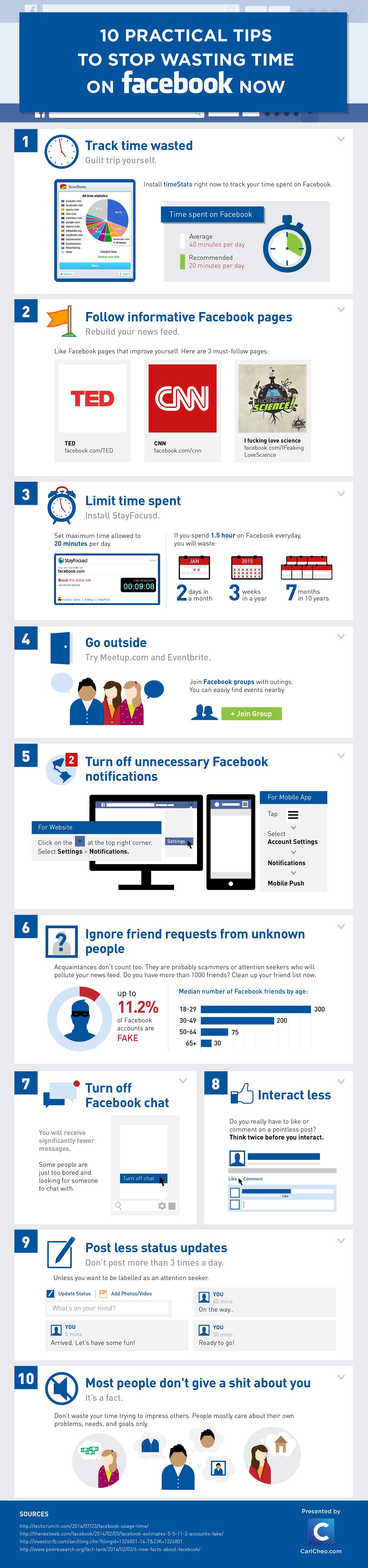 Infographic: 10 Practical Tips To Stop Wasting Time on Facebook Now