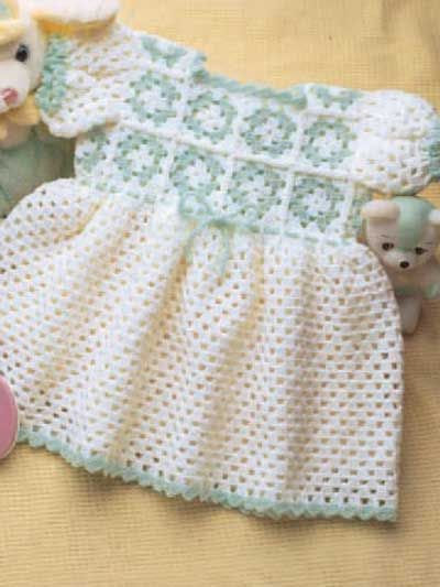 Granny Yoke Baby Dress - Dress your little one up in this cute little outfit!  Dress size: 9-12 month old (appx)  Designed by Valerie Moffitt  free pdf from freepatterns.com