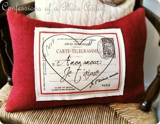 French Valentine's Pillow