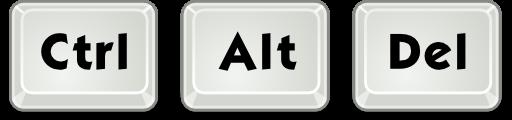 Ctrl + Alt + Del = لاغلاق الحاسوب أو أي برنامج يعمل