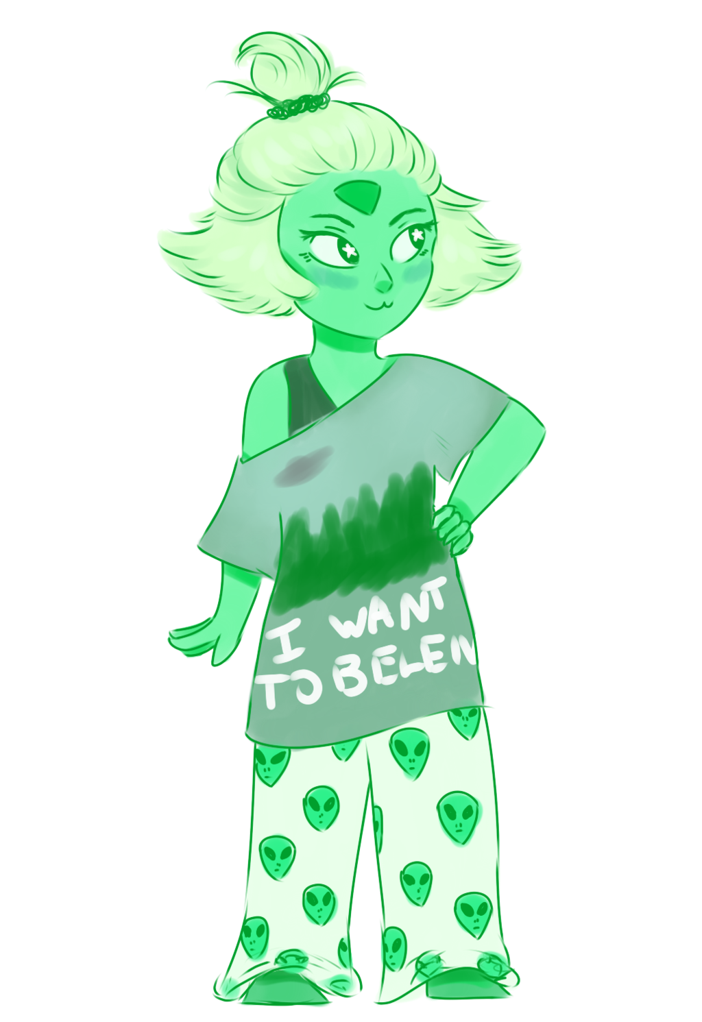 here is a casual peridot in an attempt to make myself feel better. she's transparent