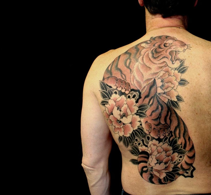 Flowers And Tiger Tattoo On Back Body